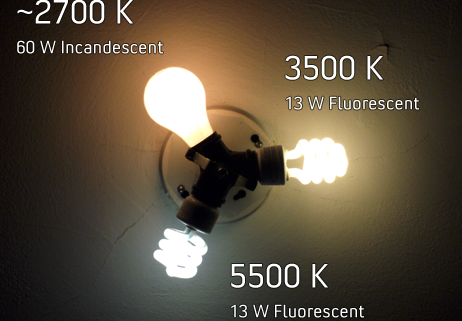 Three light bulbs, incandescent and fluorescent, showing color temperature.