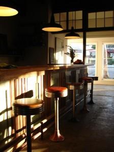 Barn lighting over a bar