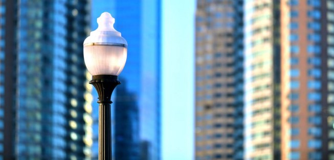 Design Tip: Vintage-style lamp posts give city streets a Gaslamp Quarter feel.
